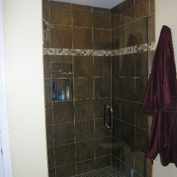 Bathroom After - Custom Tiled Shower. Click to see before image!