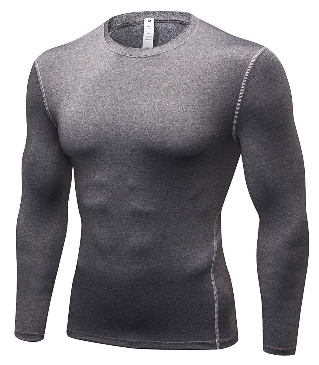 Men/'s Athletic Compression Top Workout Gym Running Long Sleeve T Shirt Quick-dry