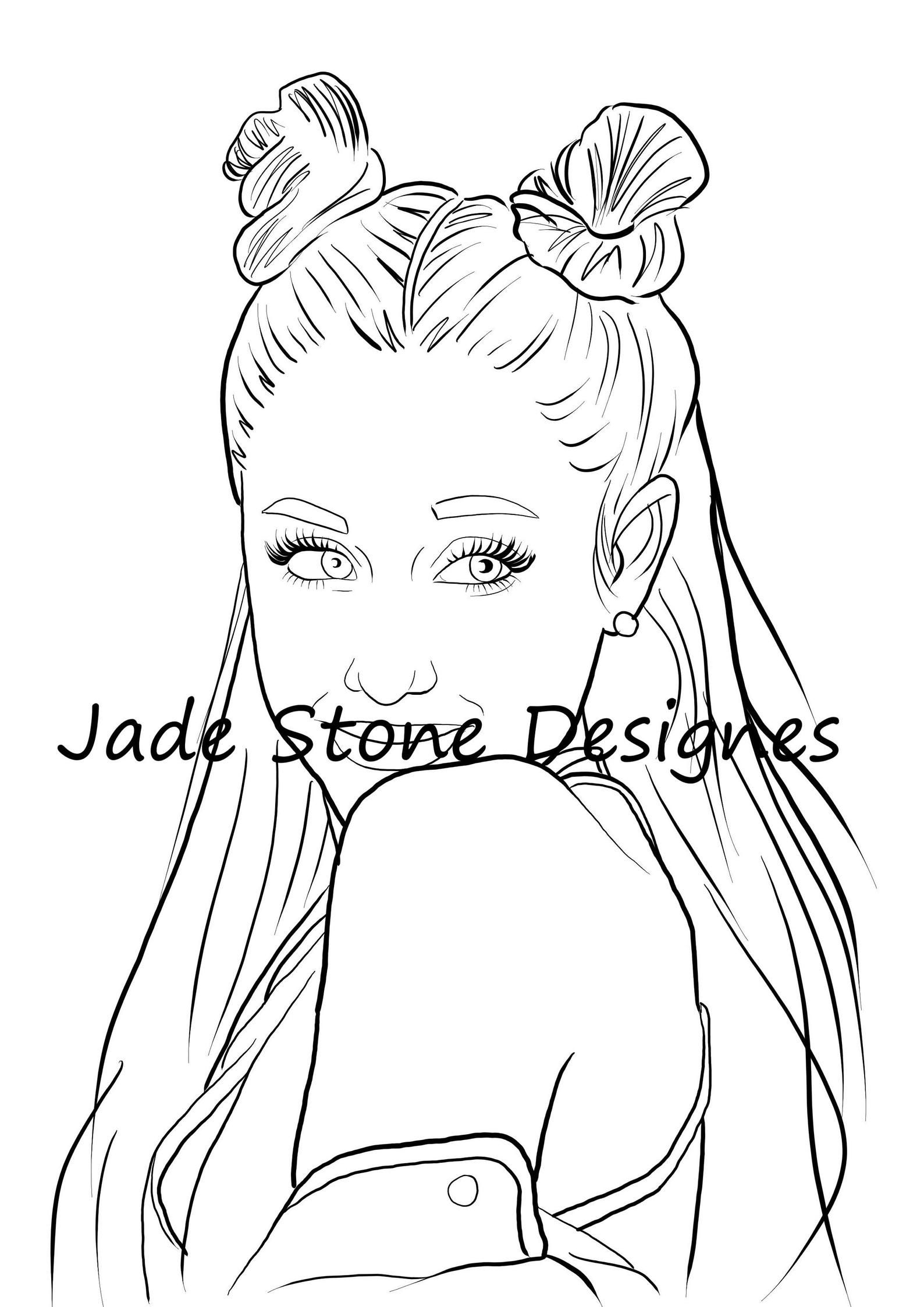 Ariana Grande Adult Colouring Page Download Adult Coloring