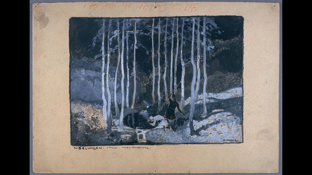 "Otto Hunte Fritz Lang's ""Die Nibelungen: Siegfrieds Tod (La Mort de Siegfried),"" 1923 Gouache BiFi, collection Cinmathque franaise, Paris"