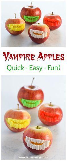 Fun Halloween Party Food Idea - Easy Vampire Apples - kids will love - fun halloween food ideas