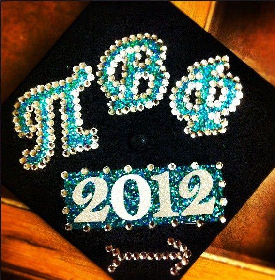 Awesome sparkle Pi Phi graduation cap #piphi #pibetaphi