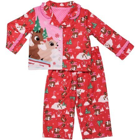Rudolph Toddler Girl Button Front PJ 2 piece set, Size: 25 Months, Red