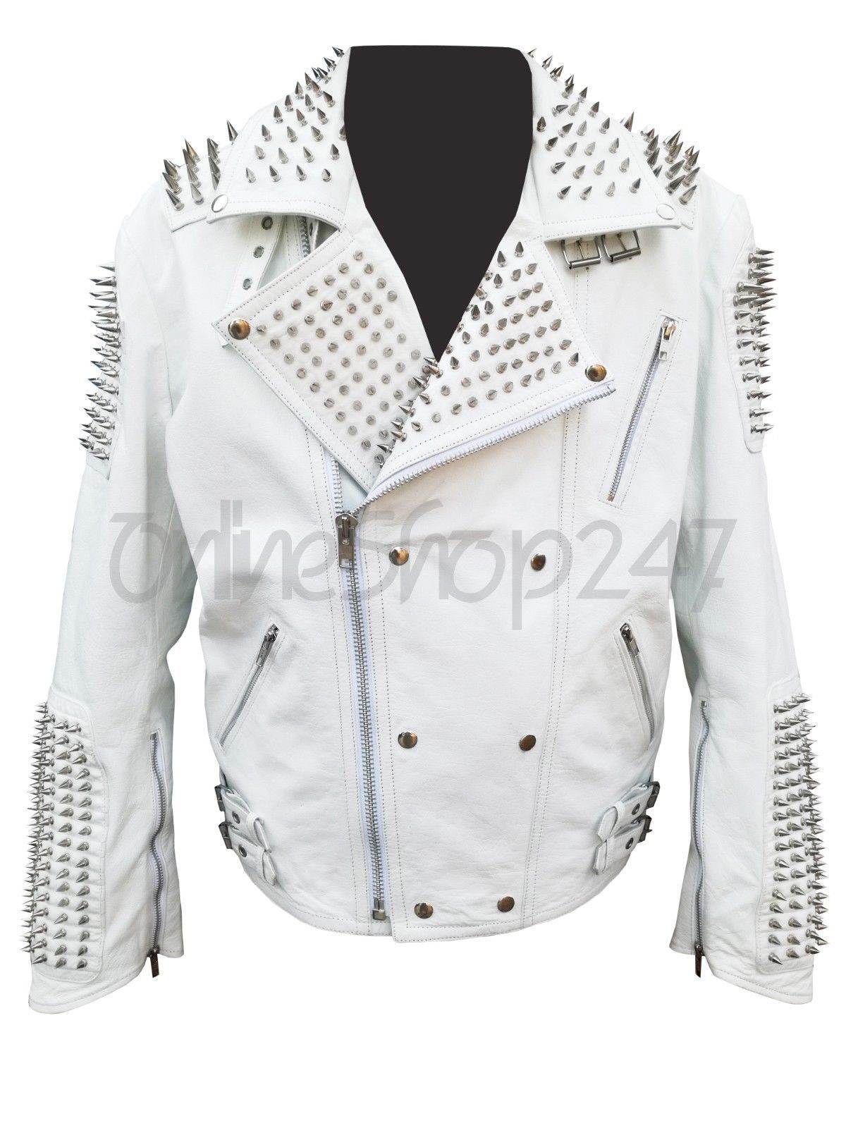 New Mens Punk Rock White Full Long Spiked Studded Zipper Button Leather Jacket [ 1600 x 1200 Pixel ]