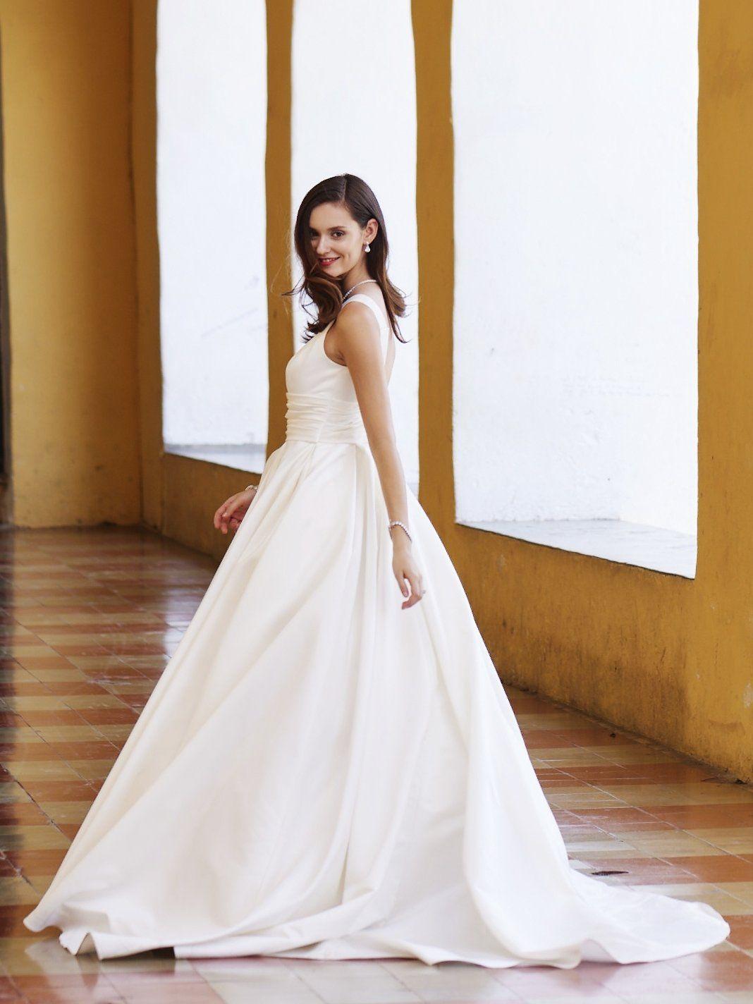 fabc2e6bfdbe Ball gown beauty | Satin Cummerbund Tank Ball Gown Wedding Dress by David's  Bridal
