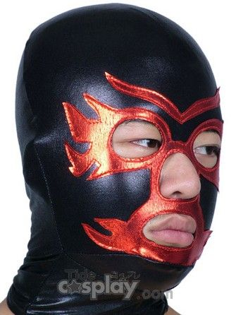 Black And Red Open Eye And Mouth Shiny Metallic Hood