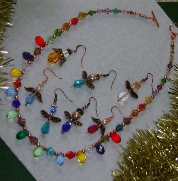 FREE Angels with Necklace.  Jewel tones by MyGrandmasHome on Etsy