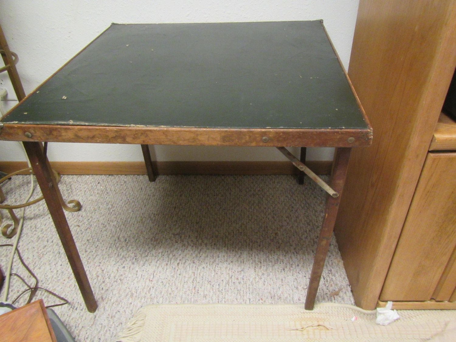 Vintage Folding Card Table Game Table Space Saving Table Guest