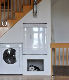 A Clever Built In Under The Stairs Laundry Room