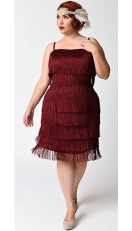 3916afca1f0 Unique Vintage Plus Size Burgundy Speakeasy Tiered Fringe Flapper Dress