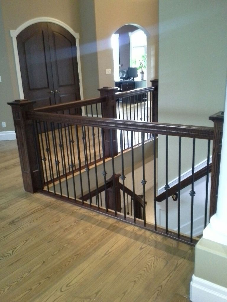 White Oak Stair With Wrought Iron Spindles Custom Made By