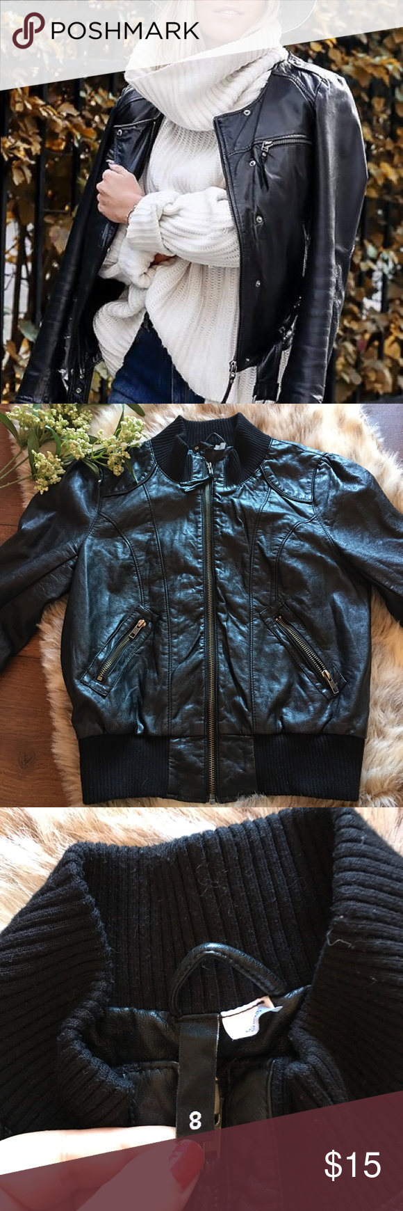 Black Leather Jacket By H&M Black Leather Jacket By H&M