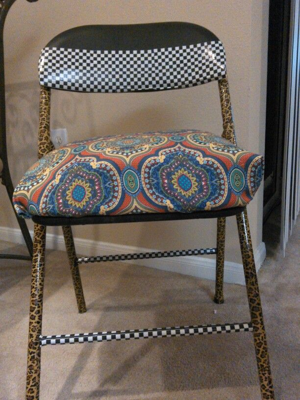 Cover An Old Ugly Folding Chair With Decorative Duct Tape And Whimsical  Fabric.