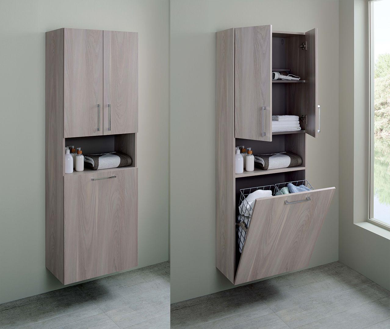 Astuce rangement choisissez une colonne de salle de bain avec un panier linge int gr - Astuce rangement produit salle de bain ...