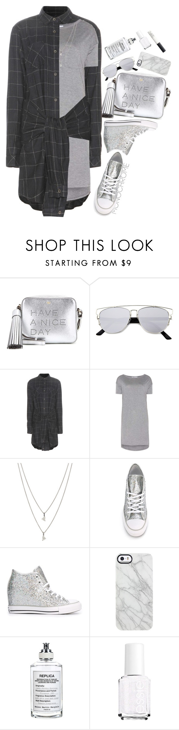 """MonoChromeTone"" by hollowpoint-smile ❤ liked on Polyvore featuring Anya Hindmarch, Current/Elliott, T By Alexander Wang, Maison Margiela, Converse, Uncommon, Essie and NARS Cosmetics"