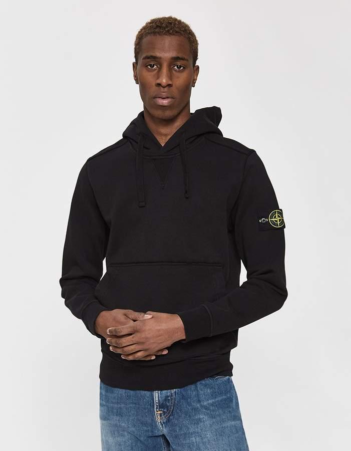 Stone Island Cotton Fleece Hooded Sweatshirt In Black Fleece Hooded Sweatshirt Hooded Sweatshirts Cotton Fleece