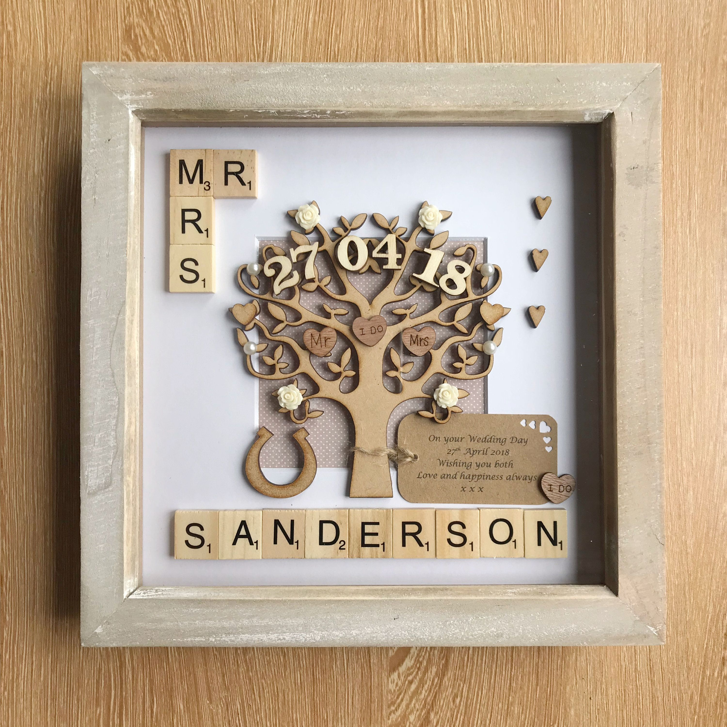 Wedding Gift Unique Wedding Gift For Couples Rustic Theme Frame Mr Mrs Wedding Anniversary Gift Handm Wind Chime Gift Unique Wedding Gifts Scrabble Frame