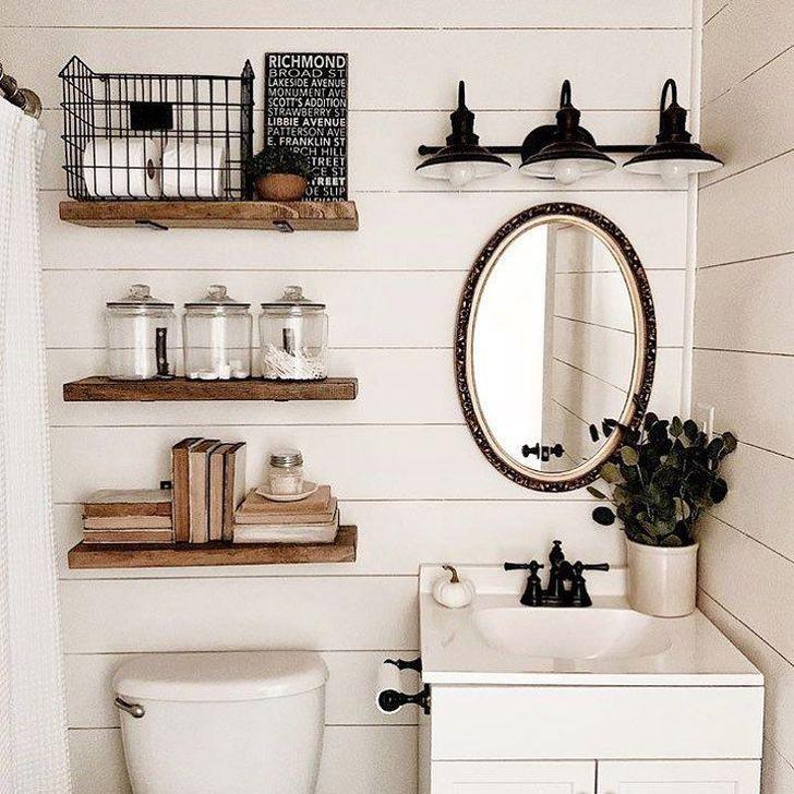 99 Cute Farmhouse Bathroom Remodel Ideas On A Budget - 99BESTDECOR #smallbathroomremodel