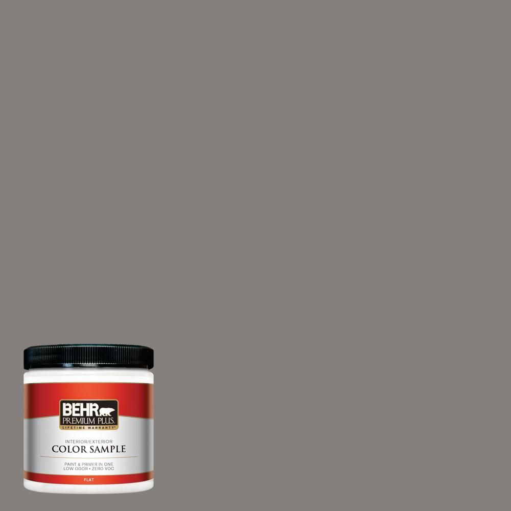 BEHR Premium Plus 8 oz. #PPU18-17 Suede Gray Flat Interior/Exterior Paint Sample