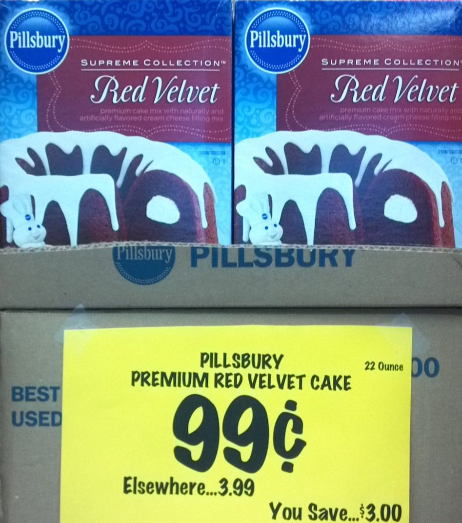 Yum....How about a piece of Red Velvet cake for dessert? Now it can be yours for only 99 cents a box while supplies last.