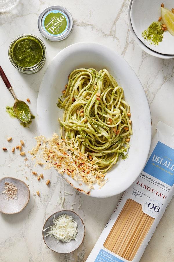 Pesto With Linguine Recipe Delallo Italian Recipes Easy Flavorful Pasta Linguine Recipes