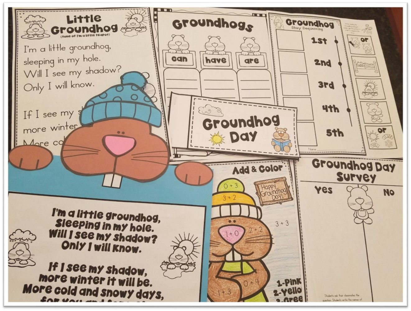 Groundhog Day Literacy Math Informative Slides And A
