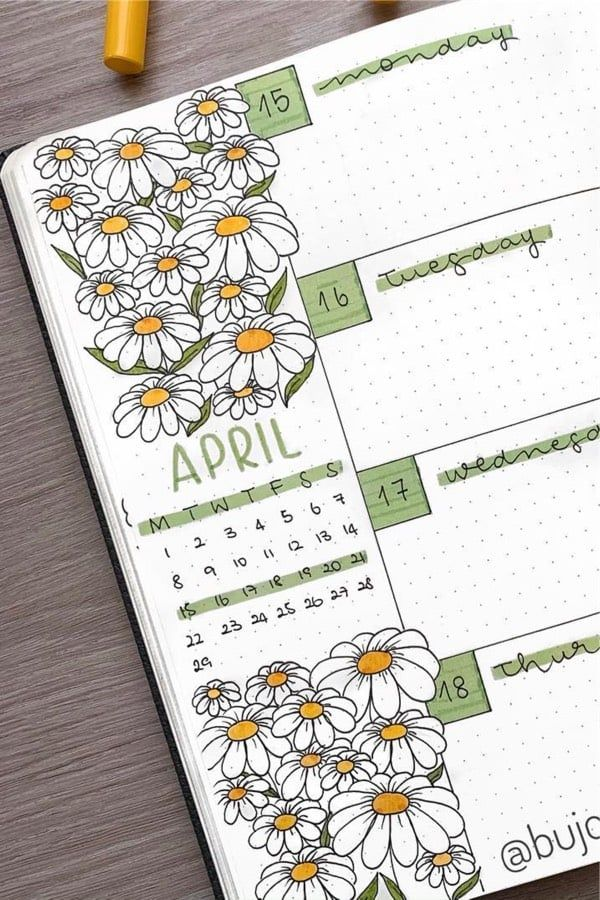 25+ Best Daisy Bullet Journal Spread Inspiration For 2020 - Crazy Laura