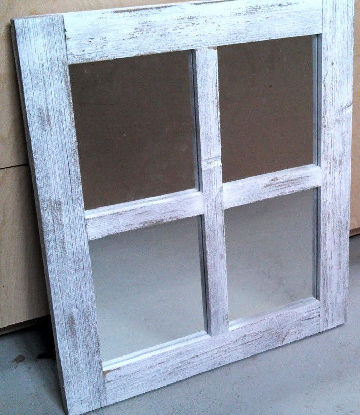 Barn Wood 4 Pane Window Mirror Wall Hanging Weathered White Rustic 18x20 Mirror Barn Wood Frames Barn Wood Window Mirror