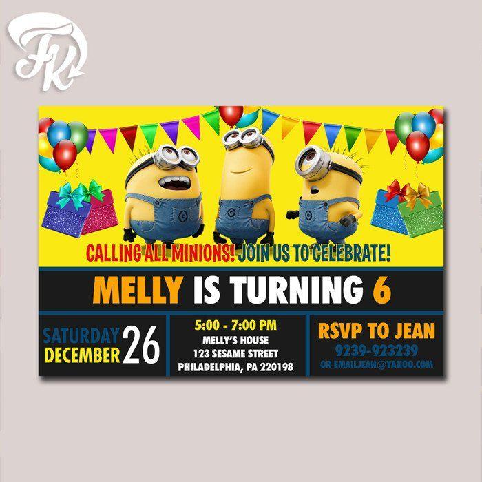 Minion Chalkboard Invitation Birthday Birthday Party Card Digital