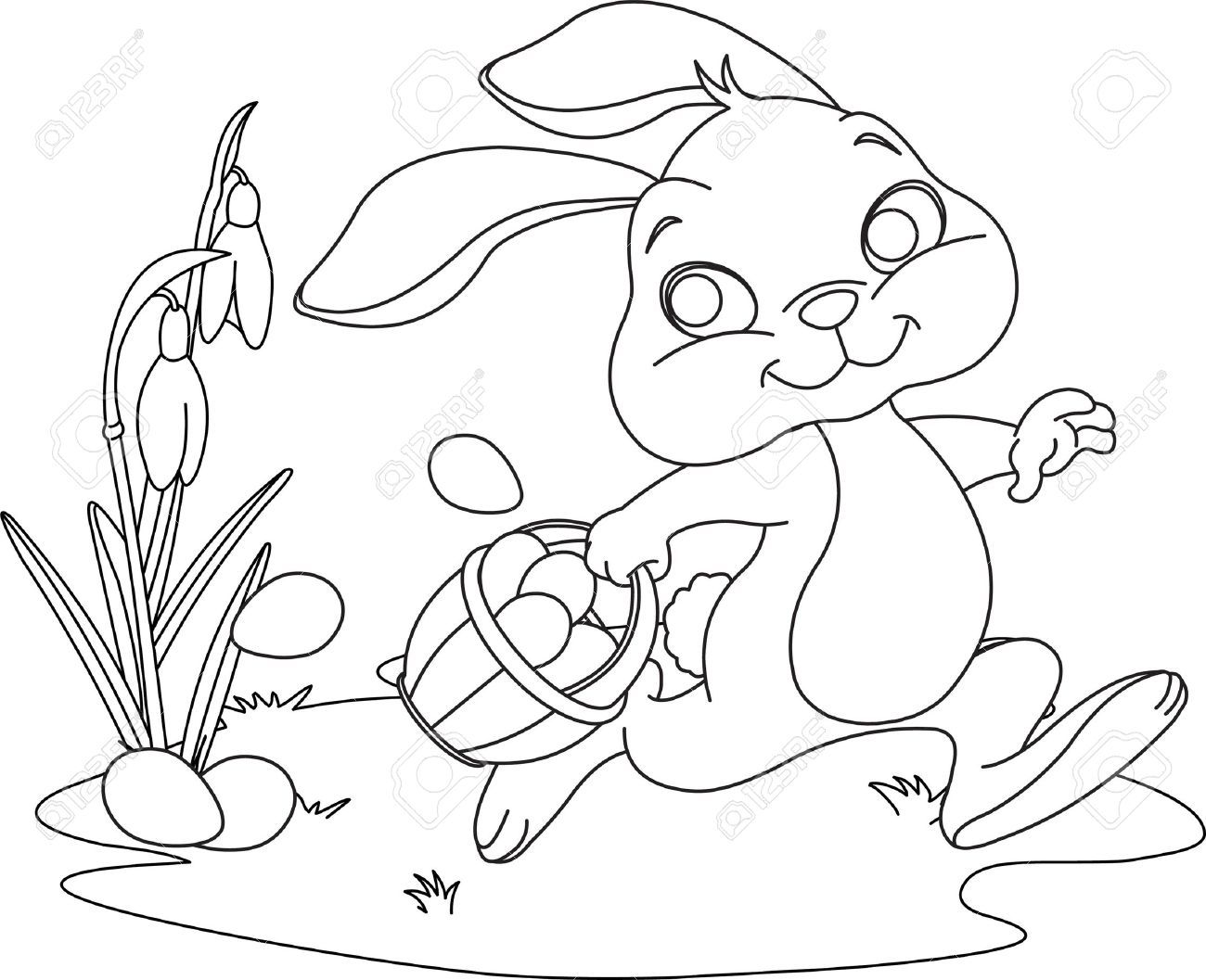 Cute Easter Bunny Hiding Eggs Coloring Page Bunny Coloring Pages Easter Bunny Colouring Dog Coloring Page