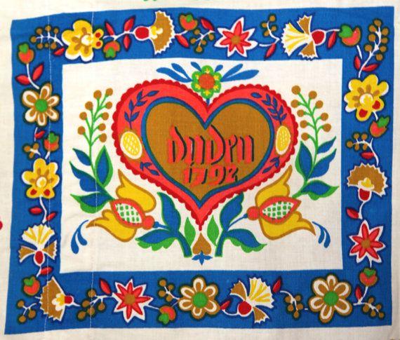 German Folk Art Vintage German Folk Art Fabric Kitchen Curtains