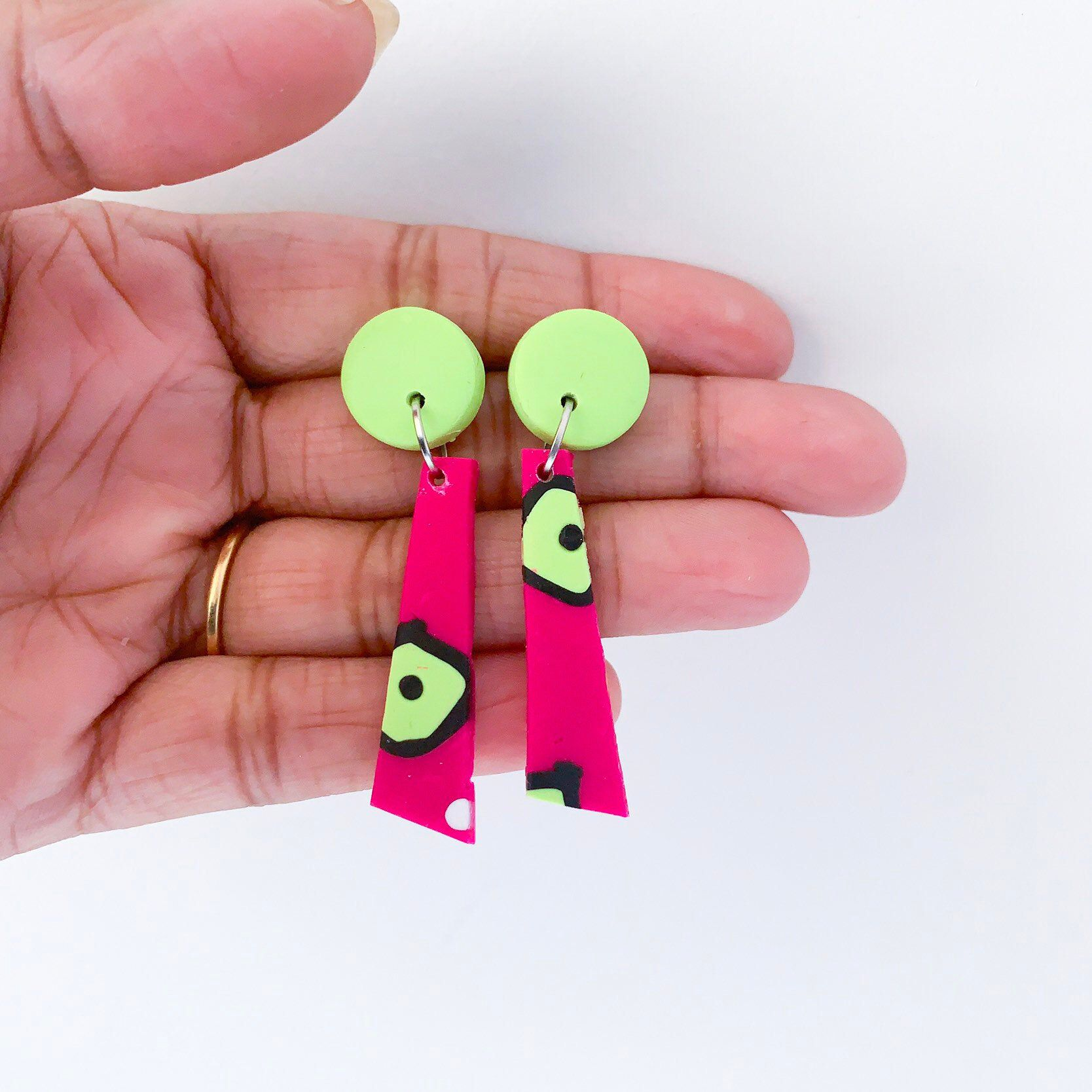 Lime Green Marble polymer clay earrings