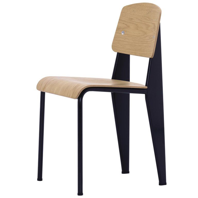Vitra Standard Chair In Natural Oak And Black By Jean