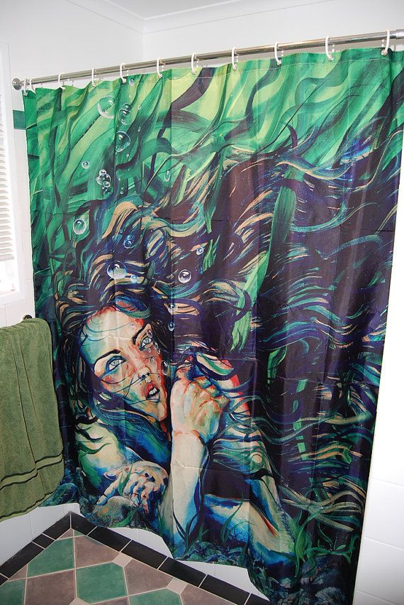 Rw2 shower curtain art mermaid green fantasy azorie by for Fantasy shower curtains