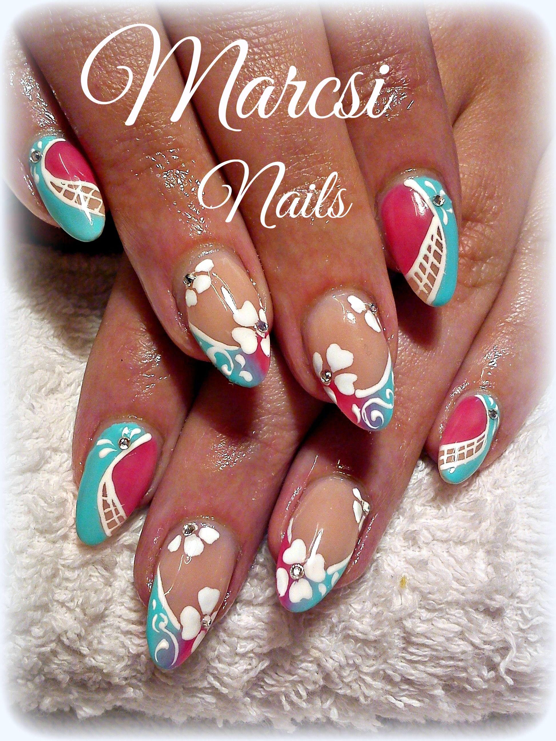 Pink blue nail art/ summer nail art design/ | Elegant Nails ...