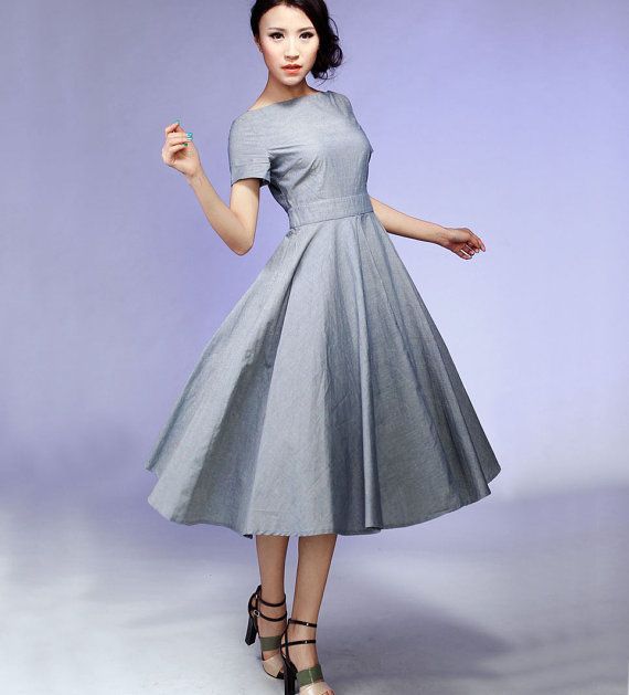 908e6f14 Love this but it might be too plain Gray midi Dress cotton Fit and Flare  prom dress gray dress (527)