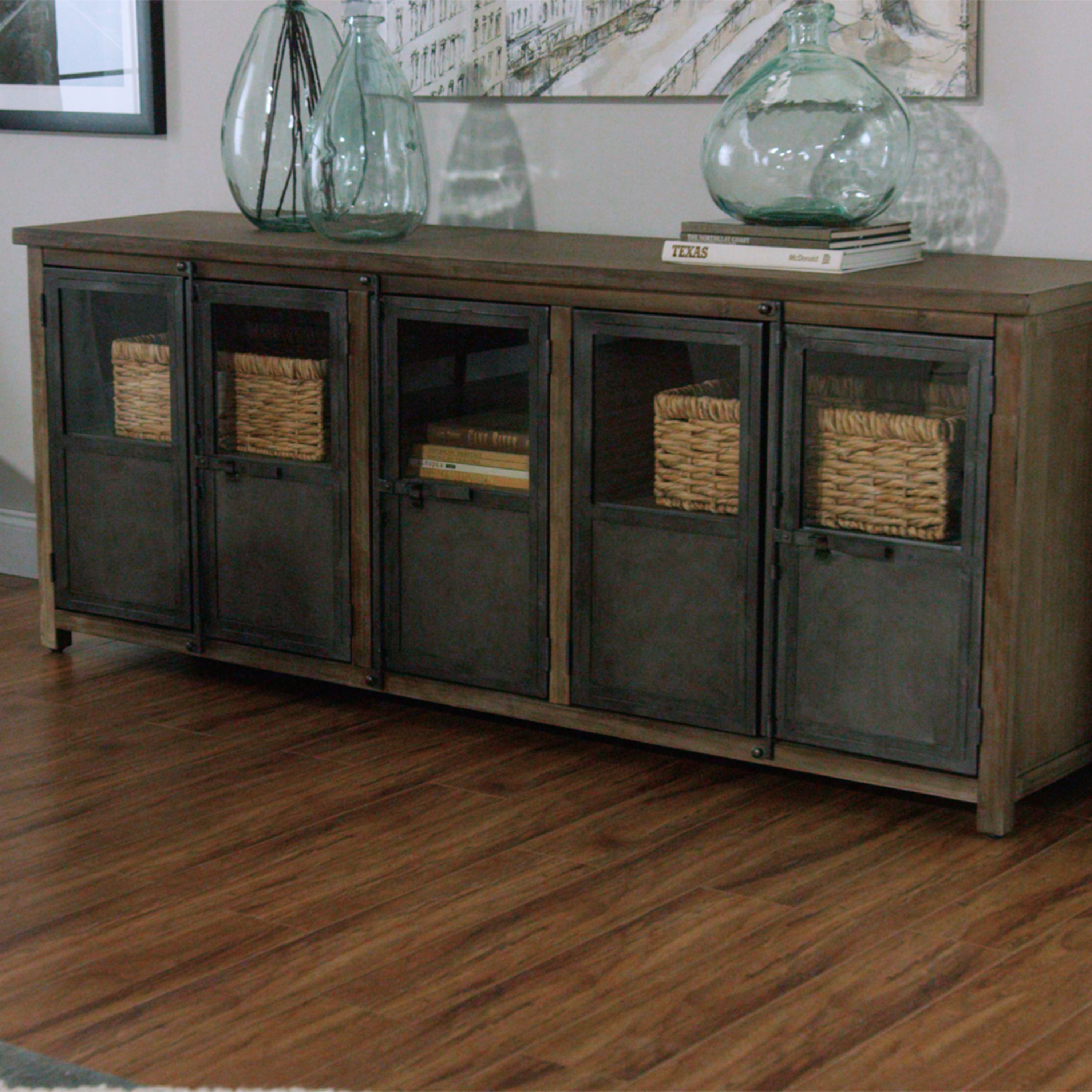 With Glass Paned Metal Doors, A Wood Frame And Latch Closures Inspired By  Cargo Trucks, Our Substantially Sized Mixed Material Cabinet Exudes An  Industrial ...