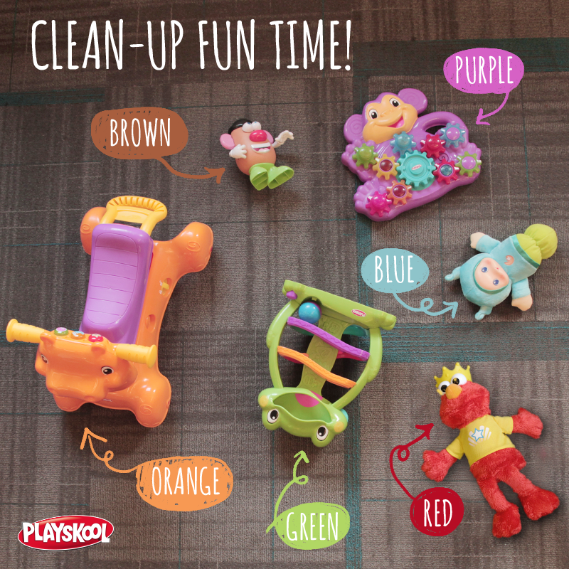 Make cleaning fun! Shout out different colors and have your kids pick up the toys that match. It's a fun and easy way to help cross something off mom's to-do list!