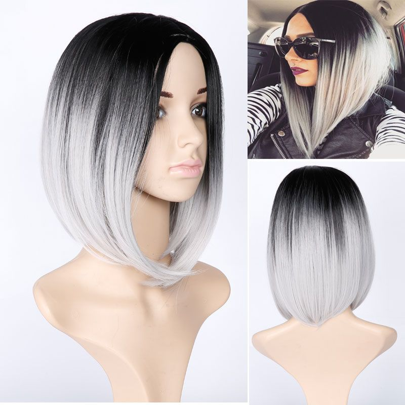Ombre Wig Black Gray White and brown Mixed