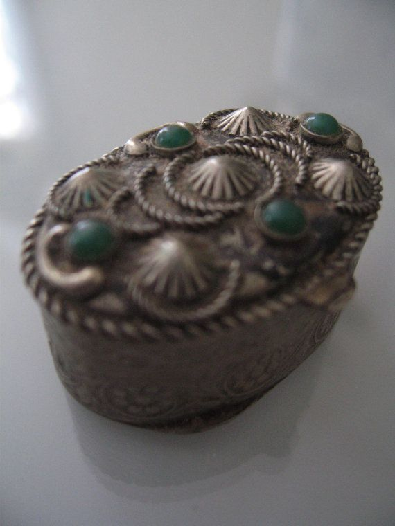 victorian pill boxes | Vintage Victorian Pill Box Silver & Jade by CuriousFawnVintage, $28.00
