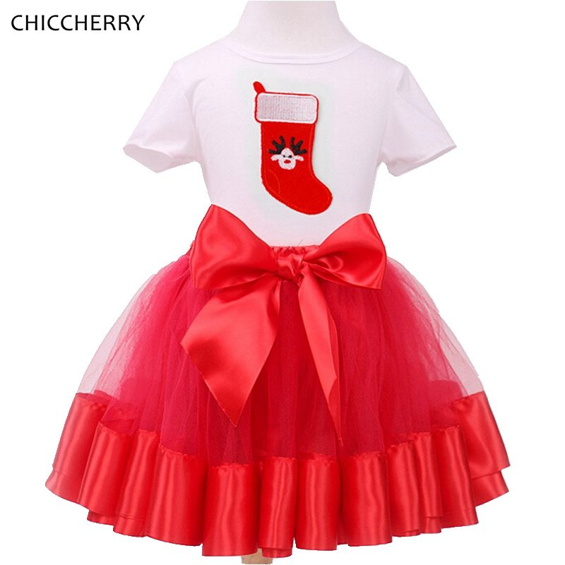 Red Christmas Children Clothes Toddler Girls Lace Ball Gown Skirt