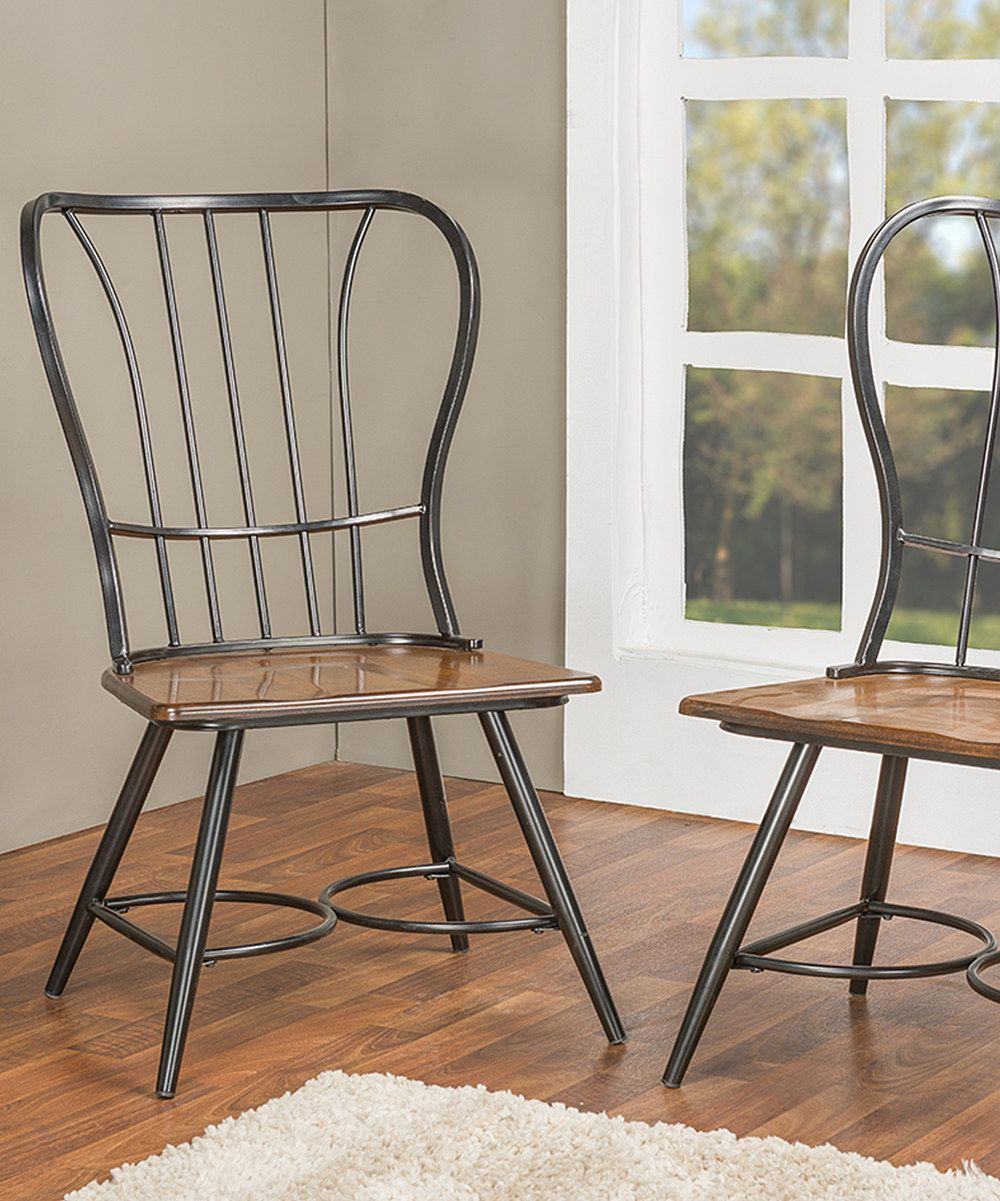 Black longford industrial dining chair set of two zulily home