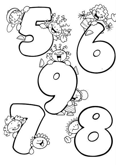 5 To 9 Coloring Pages Kindergarden Learning Numbers
