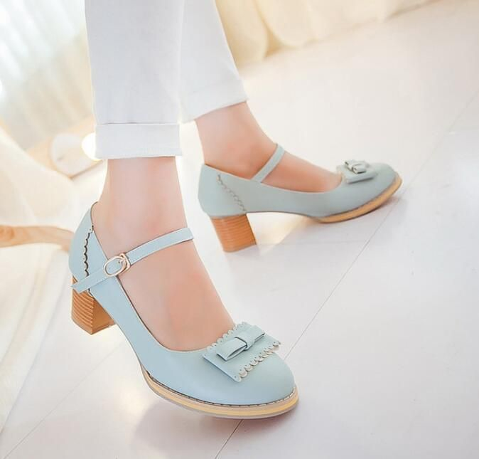 a68d46922ea Round Toe Sweet Mary Janes Women S Shoes High Block Heels Korean Sandals  Fashion