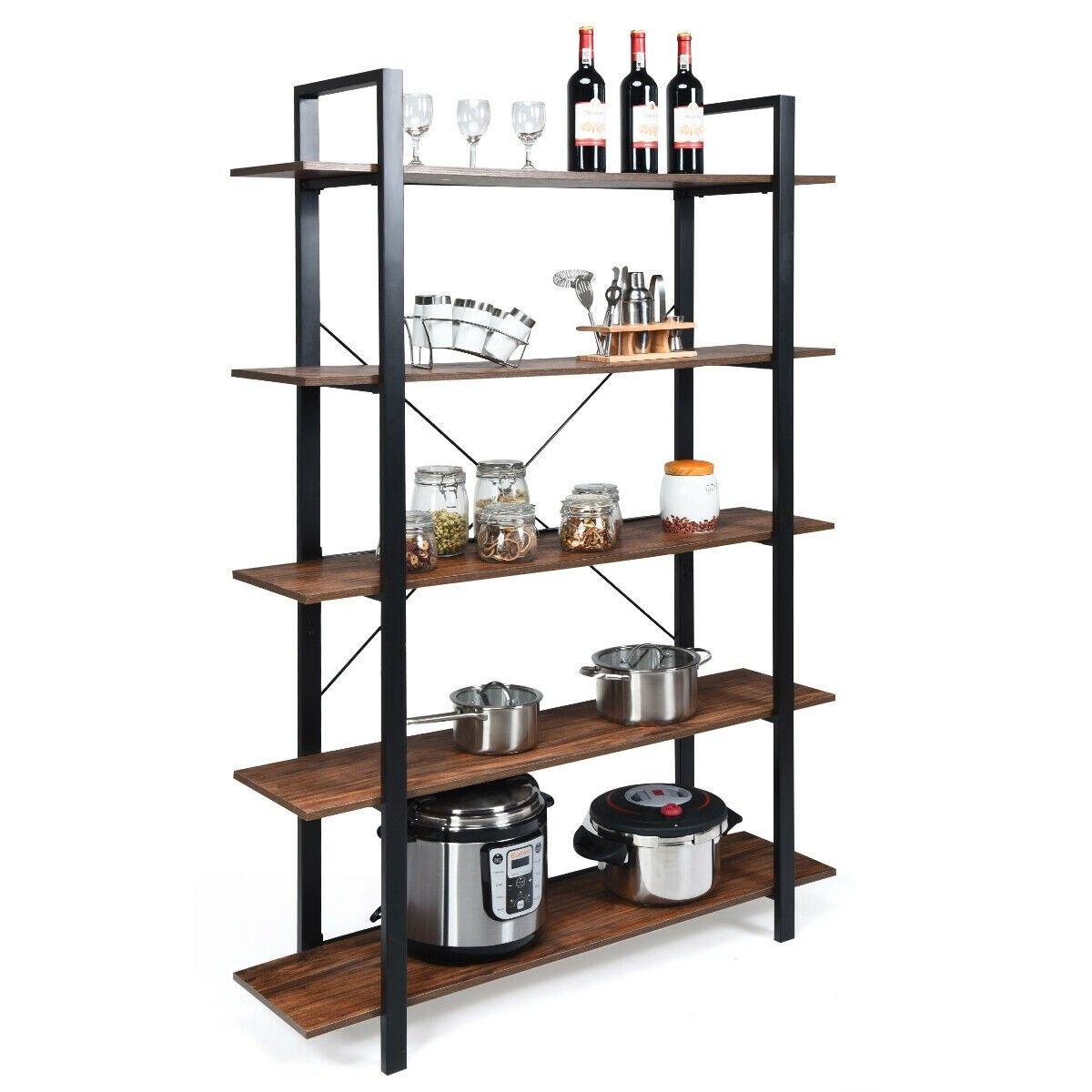 5 Tiers Bookshelf Industrial Bookcases Metal Frame Shelf Stand Shelves Frame Shelf Display Shelves