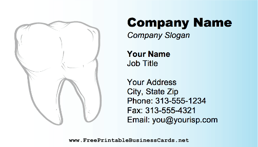 This printable business card with a large white tooth and root is this printable business card with a large white tooth and root is perfect for a reheart Images