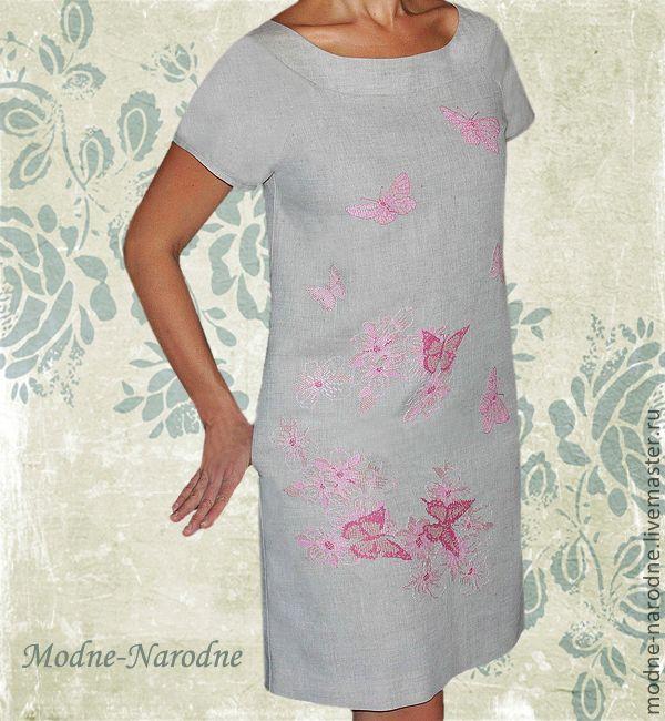 Вышивка бабочек на платье 655