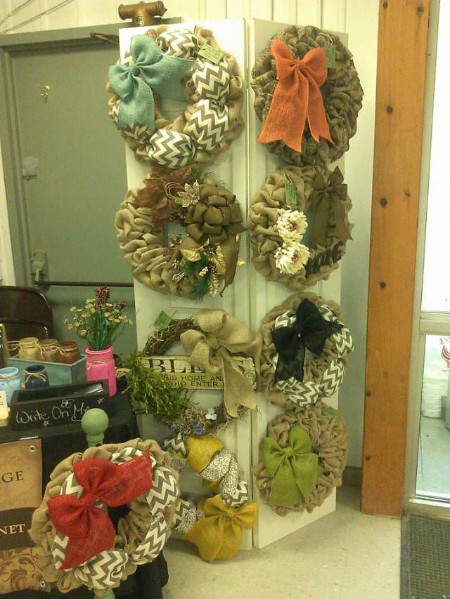 Burlap Wreath Craft Fair Displays Mason Jar Craft Fair Display