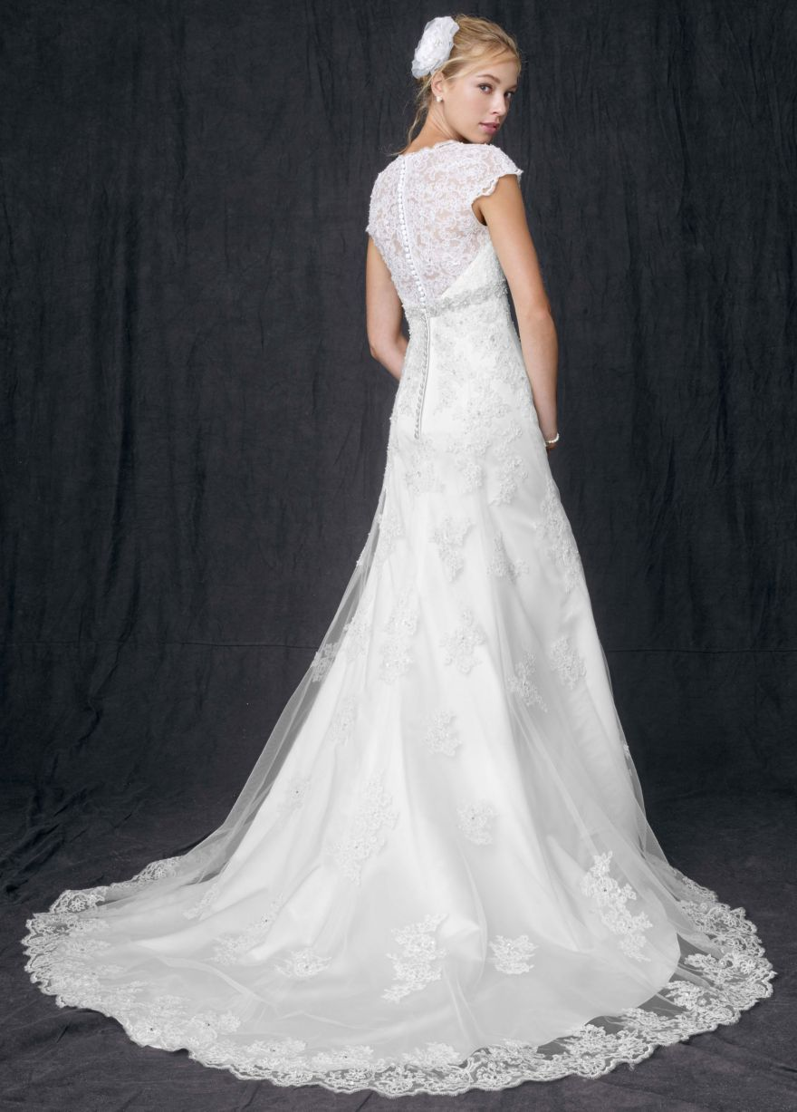 7647b0e14de9 T3299: Cap Sleeve Lace Over Satin Gown with Illusion Back - David's Bridal
