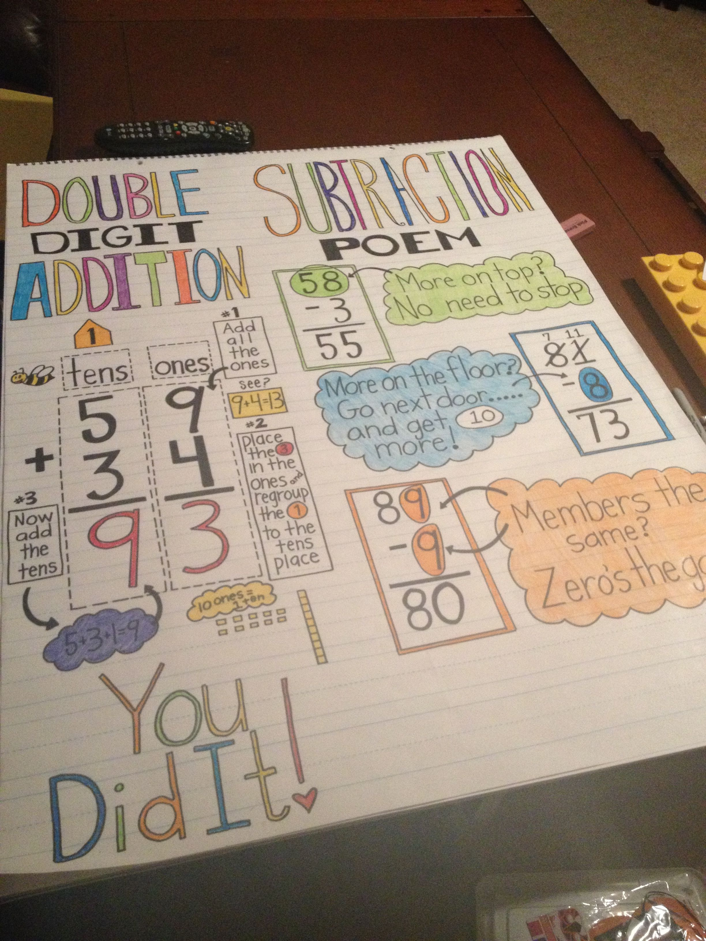 Double Digit Addition Amp Subtraction Poem